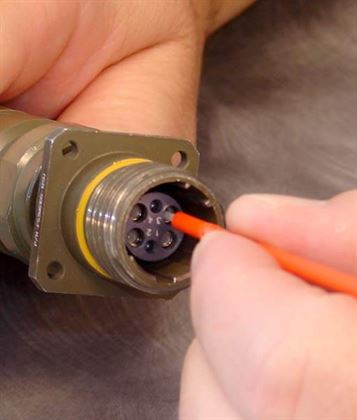 The S16 CleanStixx is often used to clean military and aerospace fiber connectors, plus commercial connectors engineered for harsh environments such as SMTPE connectors
