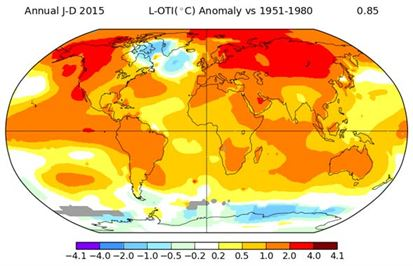 Global temperature variation from the norm in 2015. Source: GISS