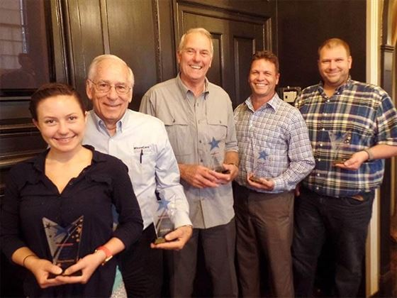 This year's honorees are (L-R) Venesia Hurtubise, John Hoffman, Russell Claybrook, Rick Hoffman and Scott Wells.